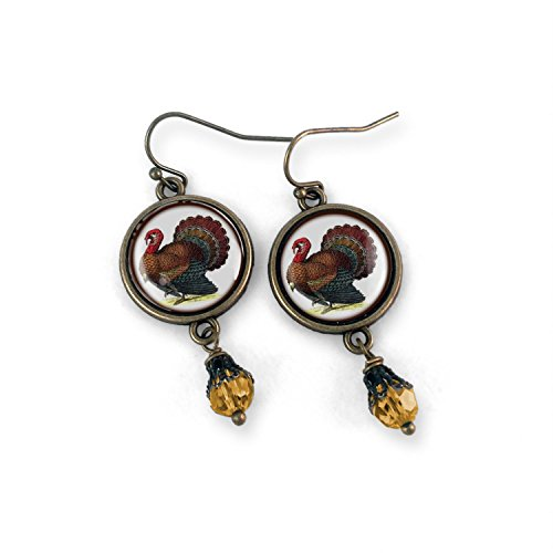 Thanksgiving Turkey Earrings with Amber Bead ()