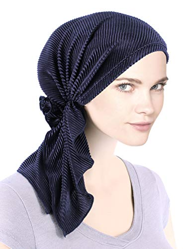 The Bella Scarf Chemo Turban Head Scarves Pre-Tied Bandana for Cancer Plisse Navy Blue ()
