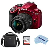 Nikon D3400 DSLR with AF-P DX NIKKOR 18-55mm f/3.5-5.6G VR Lens, RED - Bundle With Camera Bag, 16GB SDHC Card, Microfiber Cloth