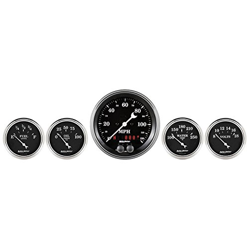 AutoMeter 1750 Old Tyme Black GPS Speedometer Black Dial Face White Pointer White Incandescent Lighting 120 MPH/100 PSI/100-250 Degree F/8-18V/240 OhmsE-33 OhmsF Old Tyme Black GPS - Speedometer Mph 120 Gps