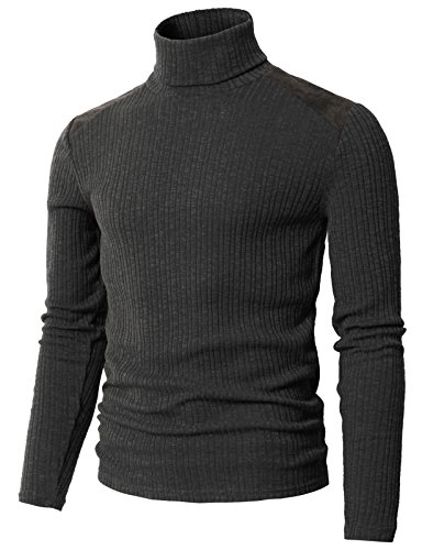 H2H Mens Turtleneck Sweater for Men Wool-Blend Knitted Pullover Slim Fit Charcoal US 3XL/Asia 4XL (CMTTL099)
