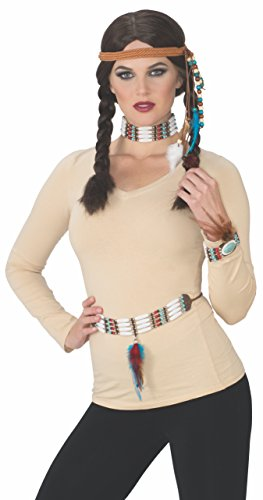 Rubies Womens Deluxe Adult Costume Accessory Kit, Native Female, One Size