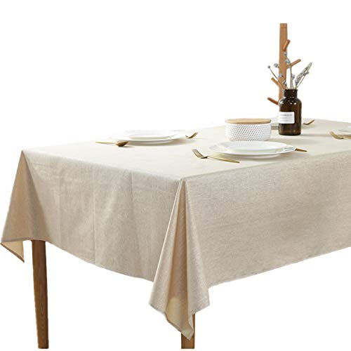 48 Inch Square Dining Table - Heavy Weight Cotton Linen Tablecloth Brief Style Square Table Cloth for Dining Kitchen Home Tabletop Decoration, 48 x 48 inches, Beige