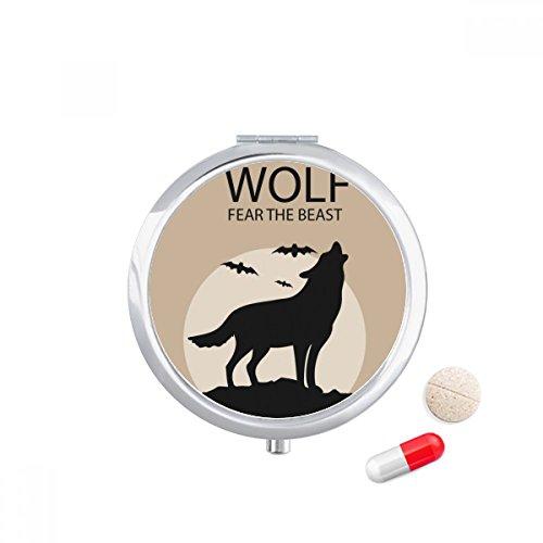 Wolf Ghost Fear Halloween Pumpkin Travel Pocket Pill case Medicine Drug Storage Box Dispenser Mirror Gift -