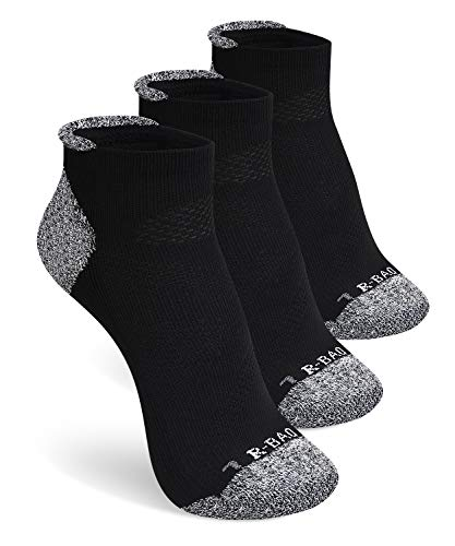 SWOLF Athletic Low Cut Ankle Compression Socks for Women & Men, Quarter Crew Socks Moisture Wicking No Blister Padded Cushion Arch Support - Anklet Socks for Running Workout Training(Black-3 Pair) ()