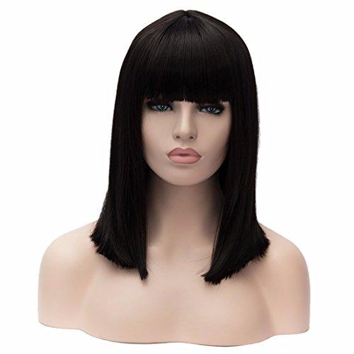 [Women's Neat Bangs Medium Straight Black Cosplay Shoulder Length Bob Party Wigs] (Black Bob Wig With Bangs)