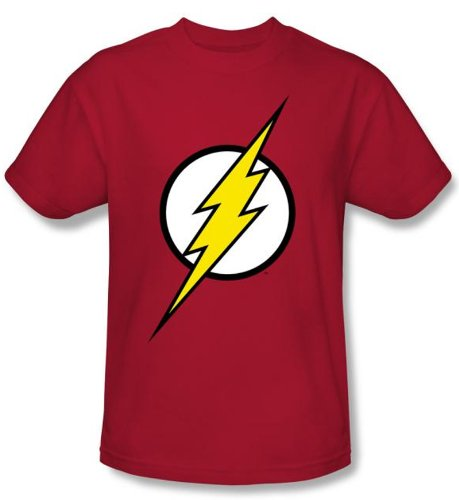 Justice League Kids Superheroes T-shirt - Flash Logo Red Tee Youth, Medium (10-12)