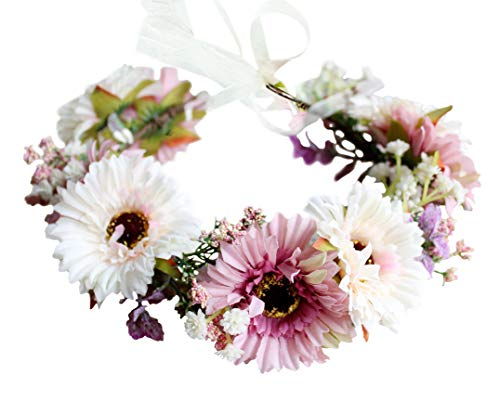 Vivivalue Daisy Flower Crown Floral Wreath Headband Hair Garland Flower Halo Headpiece with Ribbon Wedding Party Festival Photos Pink