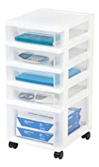 Organize your office or hobby area with this 5-drawer rolling cart. Drawers are clear to easily identify contents. Casters allow for easy mobility so you can move your cart from room to room. Built-in drawer stops prevent drawers from falling...