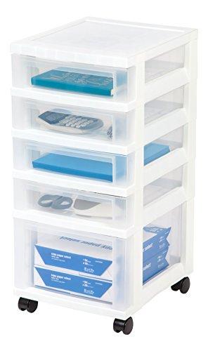 Mediano 10-drawer carro con organizador parte superior, negro, 1 unidad, Blanco, 5 cajones, 1