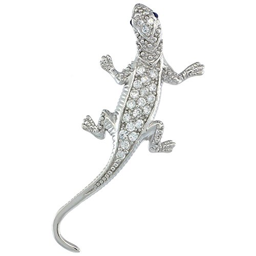Sterling Silver Cubic Zirconia Gecko Lizard Pendant, 1 1/2 inch long