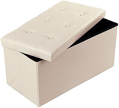 Ferty Folding Storage Ottoman Pouffe Foot Rest Stool Seat Bench Beige [US STOCK]