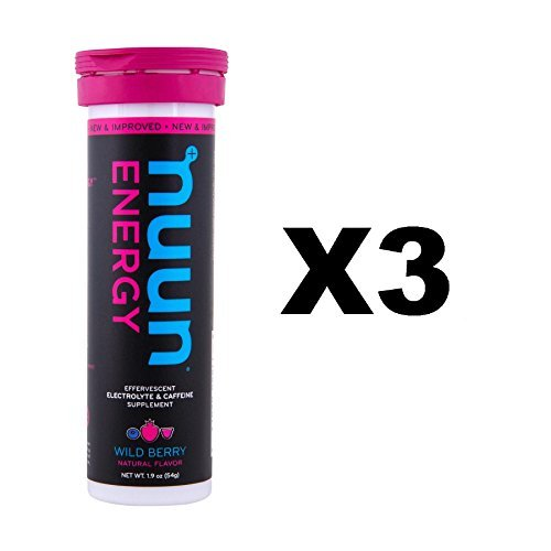 Nuun Energy: Wild Berry Electrolyte +Caffeine Drink Tablets (3 Tubes of 10 Tabs)