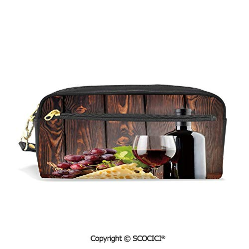 Fasion Pencil Case Big Capacity Pencil Bag Makeup Pen Pouch Red Wine Cabernet Bottle and Glass Cheese and Grapes on Wood Planks Print Decorative Durable Students Stationery Pen Holder for School