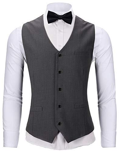 WANNEW Mens Suit Vest Tuxedo Vest for Men with Bow Tie Sets (Large, N67 Charcoal) ()