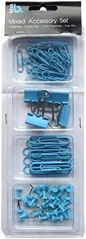 Bulldog Clips Push Pins Mixed Stationery Accessory Set Small /& Large Paper Clips Anker Teal