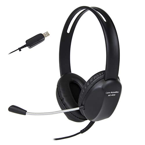 (Cyber Acoustics USB Stereo Headset with Headphones and Noise Cancelling Microphone for PCs and Other USB Devices in The Office, Classroom or Home (AC-4006))