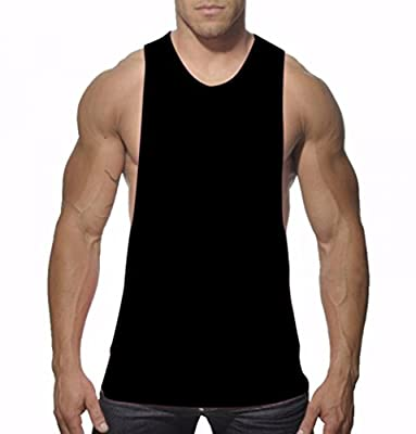 YiZYiF Men's Cut out Stringer Workout T-shirt Muscle Tee Bodybuilding Tank Top