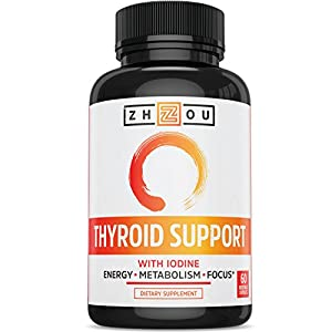 Thyroid Support Complex With Iodine for Energy, Weight Loss, and Reducing Brain Fog - Clean, Natural Formula - Vegetarian, Soy & Gluten Free - 'Feel Like Your Old Self Again'