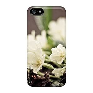 GoldenArea Case Cover Protector Specially Made For Iphone 5/5s Nature White Flowers