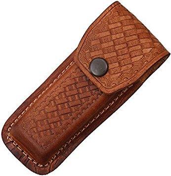 Sheath Folding Knife Sheath, Brown leather w/ embossed basketweave, 4.5-5.25i...