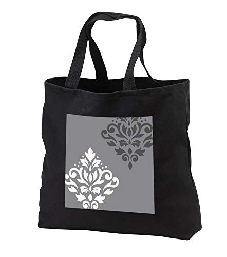 Natalie Paskell - Scroll Damask Art - Scroll damask art in a cream color and grays. - Tote Bags - Black Tote Bag JUMBO 20w x 15h x 5d (tb_291317_3)