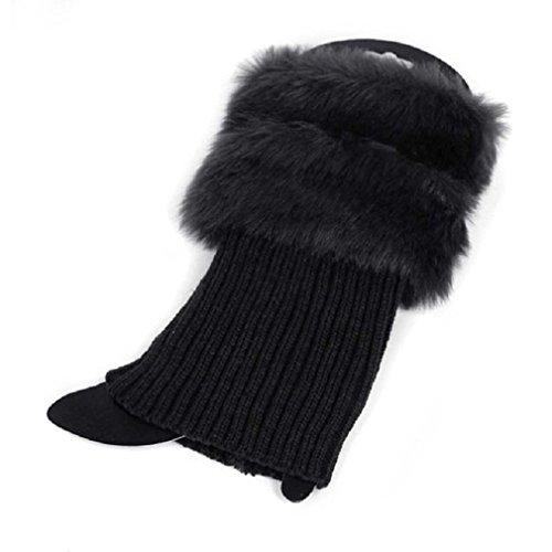UNKE Women Winter Leg Warmers Lady Crochet Knit Fur Trim Leg Boot Socks Toppers Cuffs ,Black