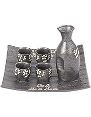 Sake set, 6 delar japanska traditionella handgjorda keramiska vinglas handmålade körsbärsblommor blomma porslin keramik sakflaska heminredning hantverk