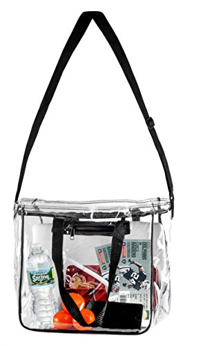 Vinyl Lunch (Medium Clear Lunch Bag\ Lunch Box for Office, Security Travel, Sports, Outdoor activities - With Adjustable Straps & Handles and Front Storage Compartment - NFL & PGA Stadium Security Approved)