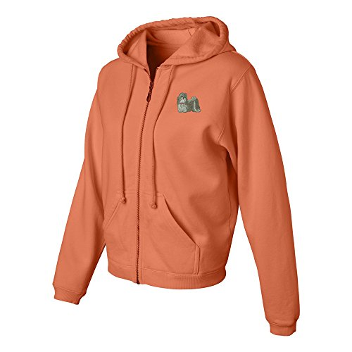 Shih-tzu Ladies Pigment Dyed Full Zip Hooded Sweatshirt Color Melon, Size 2X