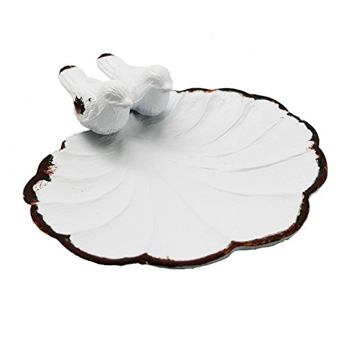 NIKKY HOME Twin Bird Antique Trinket Tray Jewelry Holder Display Stand, Ceramic White