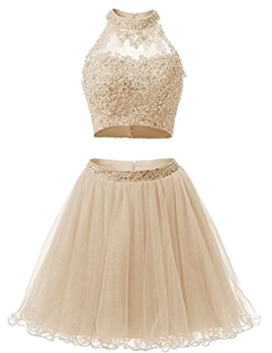 (EverLove Short Applique Prom Gowns Beaded Two Pieces Homecoming Dresses EL0044 6 Champagne)