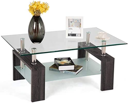 Tangkula Rectangle Glass Coffee Table, Clear Coffee Table with Lower Shelf Wooden Legs, Center Tables for Living Room Dark Brown