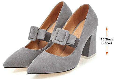 Alnice Nubuck Pumps Elastic Buckle Straps Chunky High Heels Pointed Toe Grau
