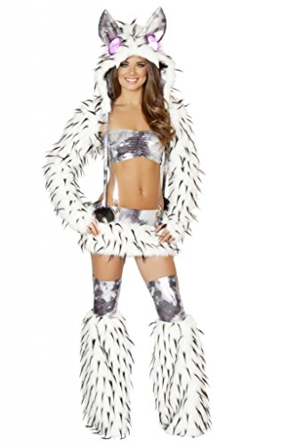 Sexy Spike Faux Fur Skirt Tube Top Go Go Set (Sexy Wolf Woman Costume)