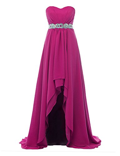 Fuchsia Women's Party Sweetheart Chiffon Pleated Asymmetric Gowns Bridesmaid DYS Dresses vq6wvz