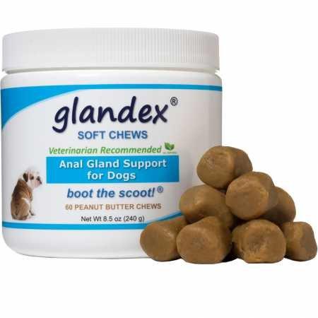 Glandex Dental para Suave 60 Count, Anal glándula Cable de Cartucho Digestivo Probiótico Suplemento para Perros