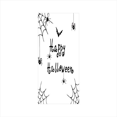 Decorative Window Film,No Glue Frosted Privacy Film,Stained Glass Door Film,Happy Halloween Celebration Monochrome Hand Drawn Style Creepy Doodle Artwork,for Home & Office,23.6In. by 47.2In Black Whit -