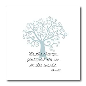 ht_164656_1 PS Inspirations - Be the Change You Wish to See Blue Tree Gandhi quote - Iron on Heat Transfers - 8x8 Iron on Heat Transfer for White Material