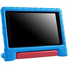 HDE Case for All-New Fire HD 8 Tablet (7th Generation, 2017 Release) Kids Shock Proof Convertible Handle Light Weight Protective Stand Cover for Fire HD 8 Blue & Red