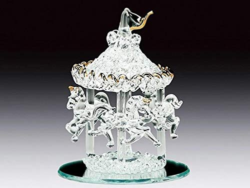 (DAR Giftware Blown Glass Carousel with Three Horses Figurine Collectible 3.5 Inches Tall)