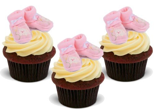 Baby Girl Pink Booties Christening 12 Standup Edible Premium Wafer Paper Cake Toppers Decoration 12 X 55Mm