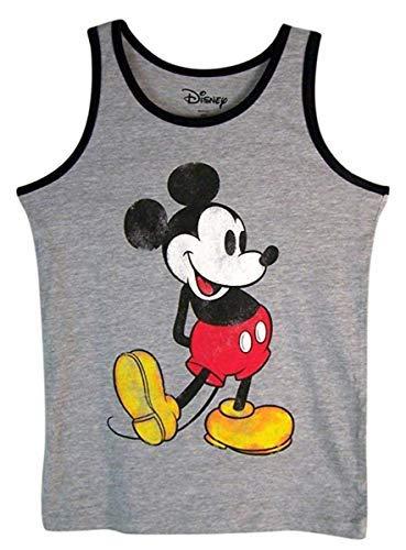 Disney Boys Gray and Black Nostalgia Mickey Mouse Tank Top Shirt (Extra Small)