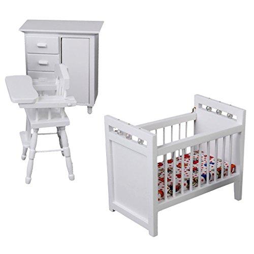 (1/12 Dollhouse Miniature Furniture Baby Bedroom Set White)