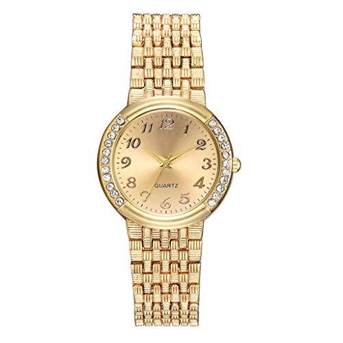 XBKPLO Women Watches Quartz Luxury Diamond Business Temperament Analog Wrist Steel Strap Jewelry Gift (Gold) ()