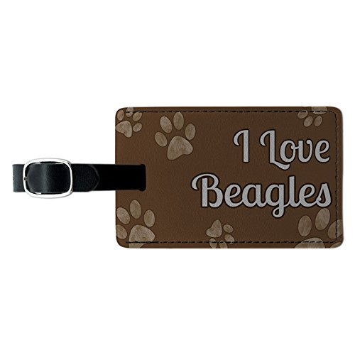 Graphics & More I Love Beagles Brown with Paw Prints Leather Luggage Id Tag Suitcase Carry-on, Black Beagle Luggage Tag