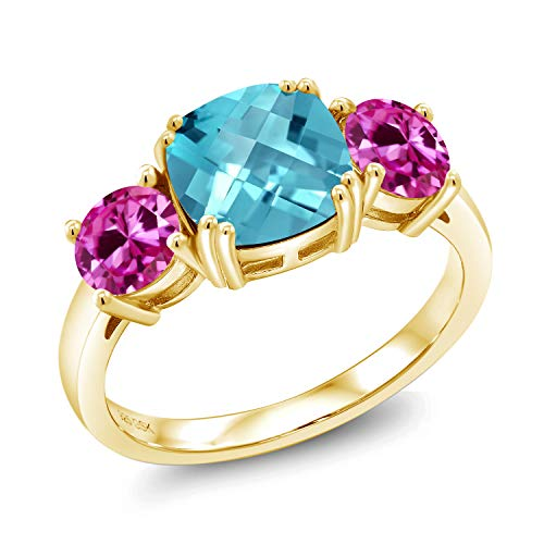 3.85 Ct Cushion Checkerboard Swiss Blue Topaz Pink Created Sapphire 18K Yellow Gold Plated Silver Ring (Size 6)