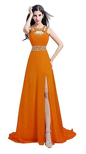orange a line prom dress - 4