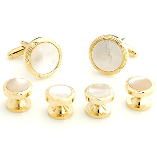 The Smart Man Elegant White Stone Round Cufflinks and Tuxedo Studs Set for Mens Gift by The Smart Man
