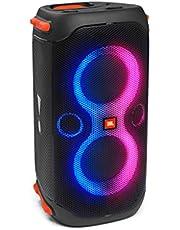 JBL PartyBox 110 in zwart, draagbare en rolbare Bluetooth partyluidspreker met lichteffecten, spatwaterdicht, mobiele muziekbox met accu